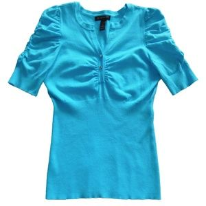 Inc Bright Blue Short Sleeve Summer Knit Top